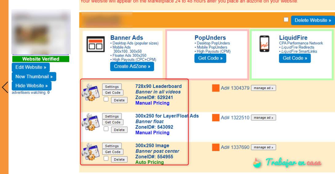 banners y zonas de venta de tu web en juicyads