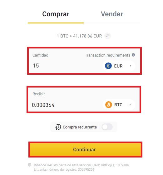 Establecer la cantidad a invertir en bitcoin