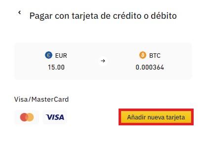 Añadir tarjeta a Binance para comprar cryptos